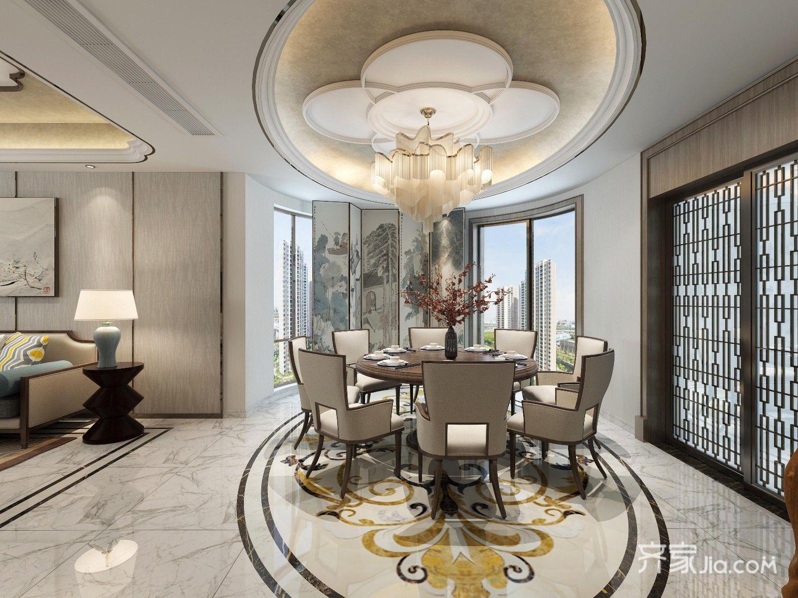 新中式大户型餐厅装修设计效果图
