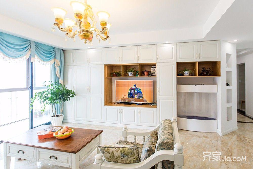 145平美式风格四居电视背景墙装修效果图