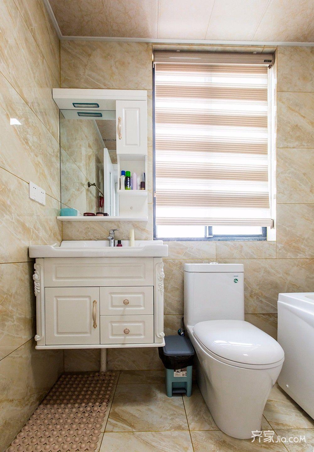 145平美式风格四居装修浴室柜设计图