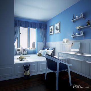 蓝白色美式儿童房装修效果图