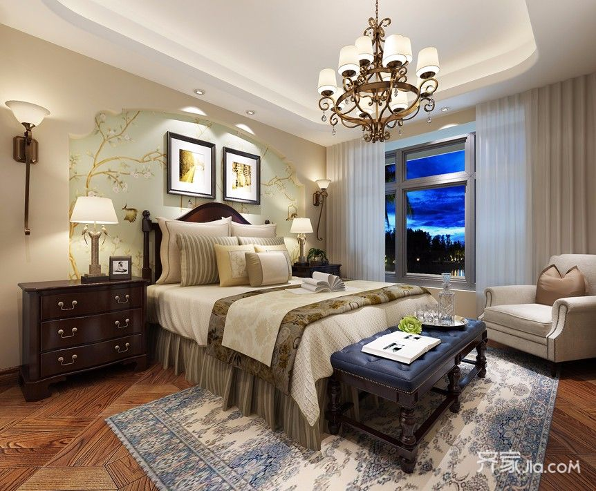 大户型美式田园风格卧室装修效果图