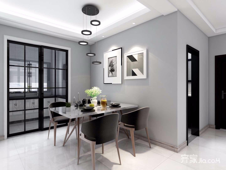 黑白灰现代混搭风格餐厅装修效果图