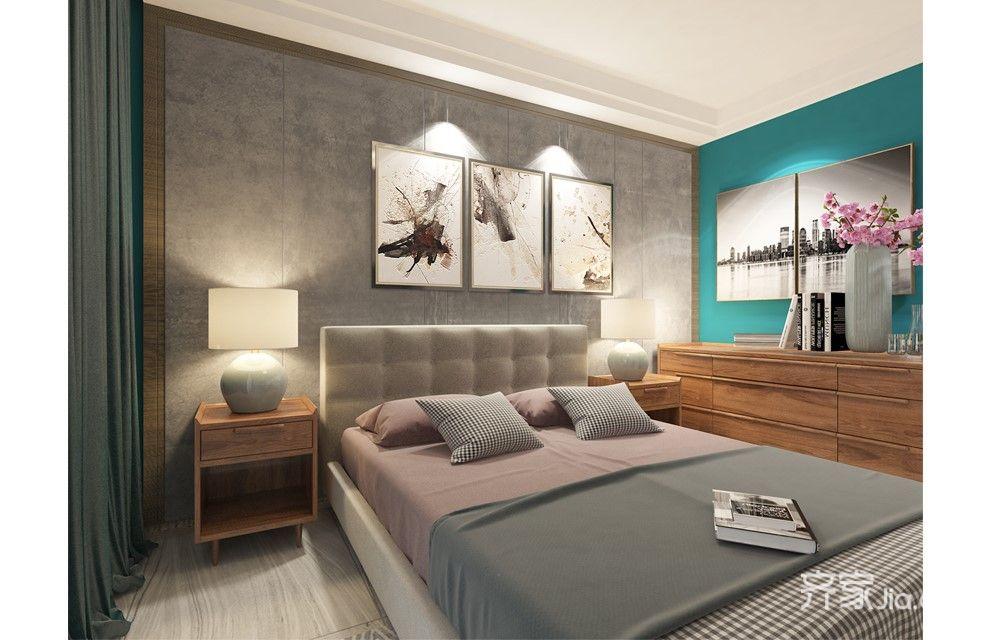 混搭风格四居室床头背景墙装修效果图