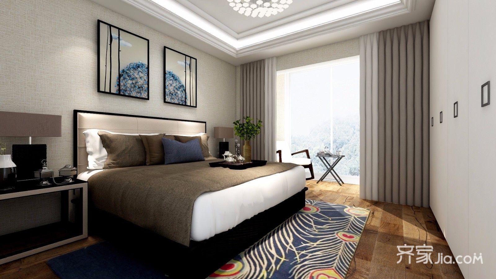 140平米中式风卧室装修效果图