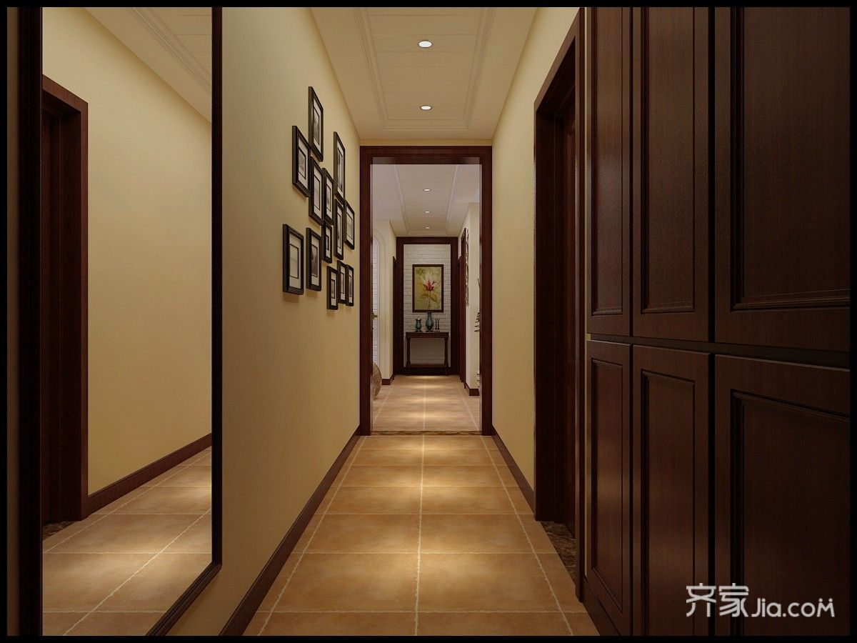 150平米美式三居玄关走廊装修效果图