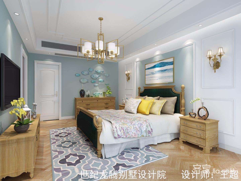 大户型现代美式别墅卧室背景墙装修效果图