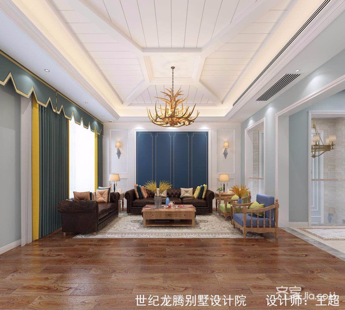 大户型现代美式别墅客厅吊顶装修效果图