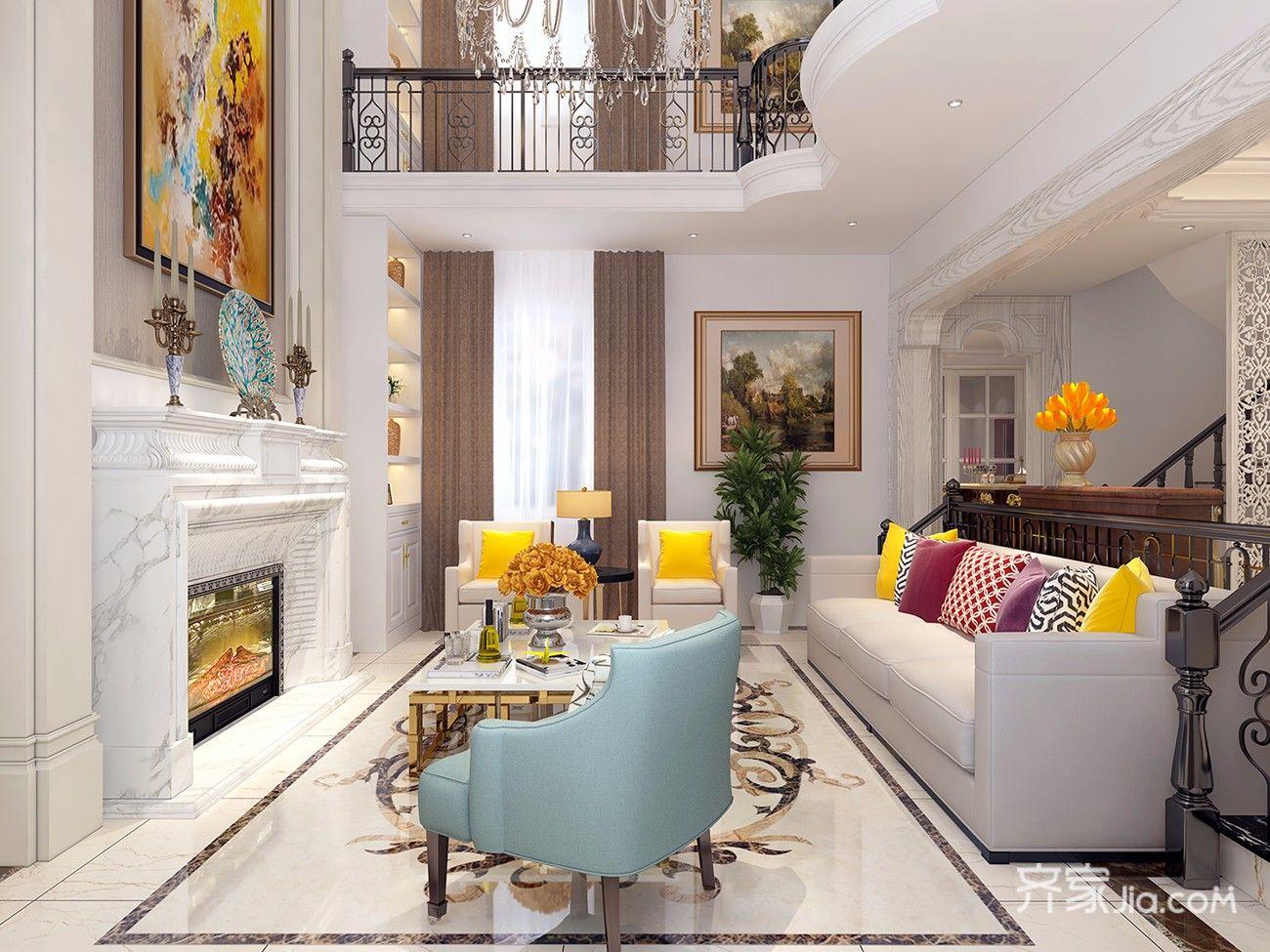 250平欧式风格别墅客厅装修效果图