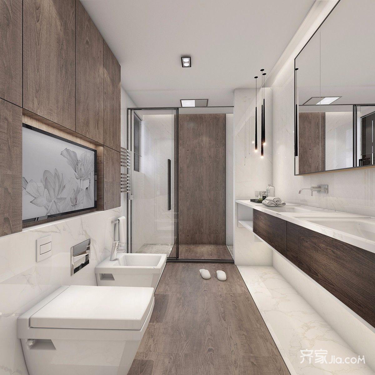 大户型简约风格别墅卫生间装修设计图