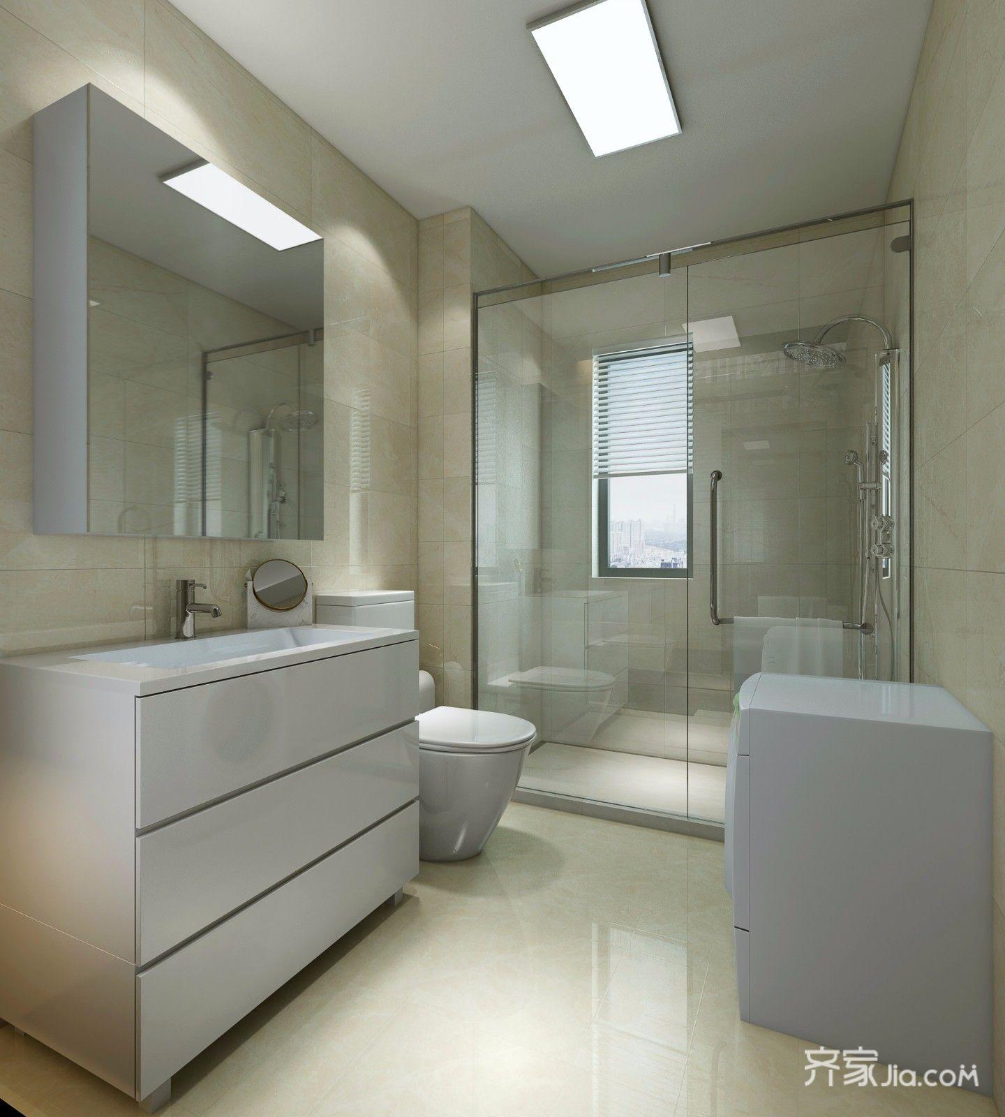 160㎡现代简约三居卫生间装修效果图