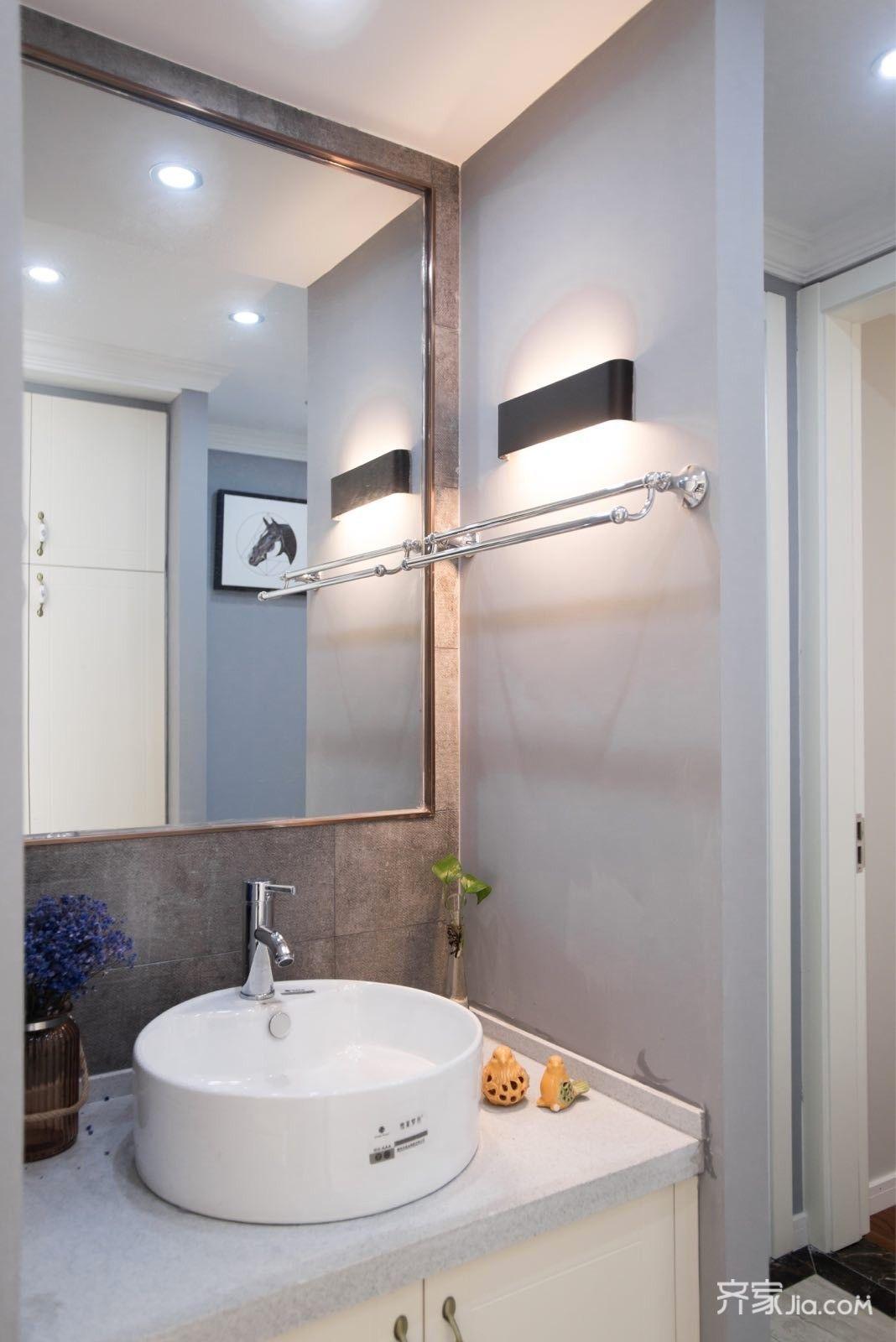 89平美式三居室装修洗手台设计图