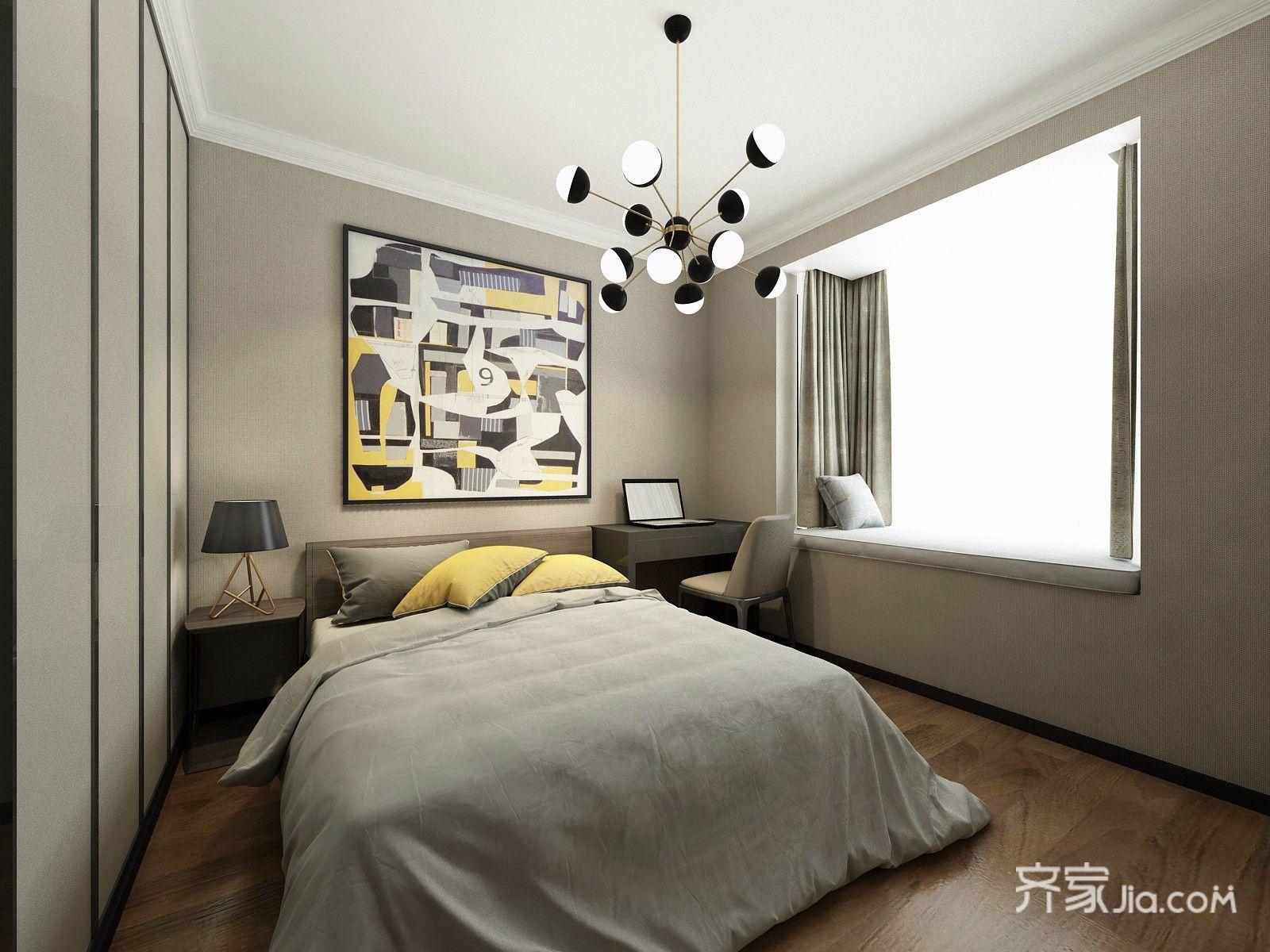 106㎡现代简约三居卧室装修效果图