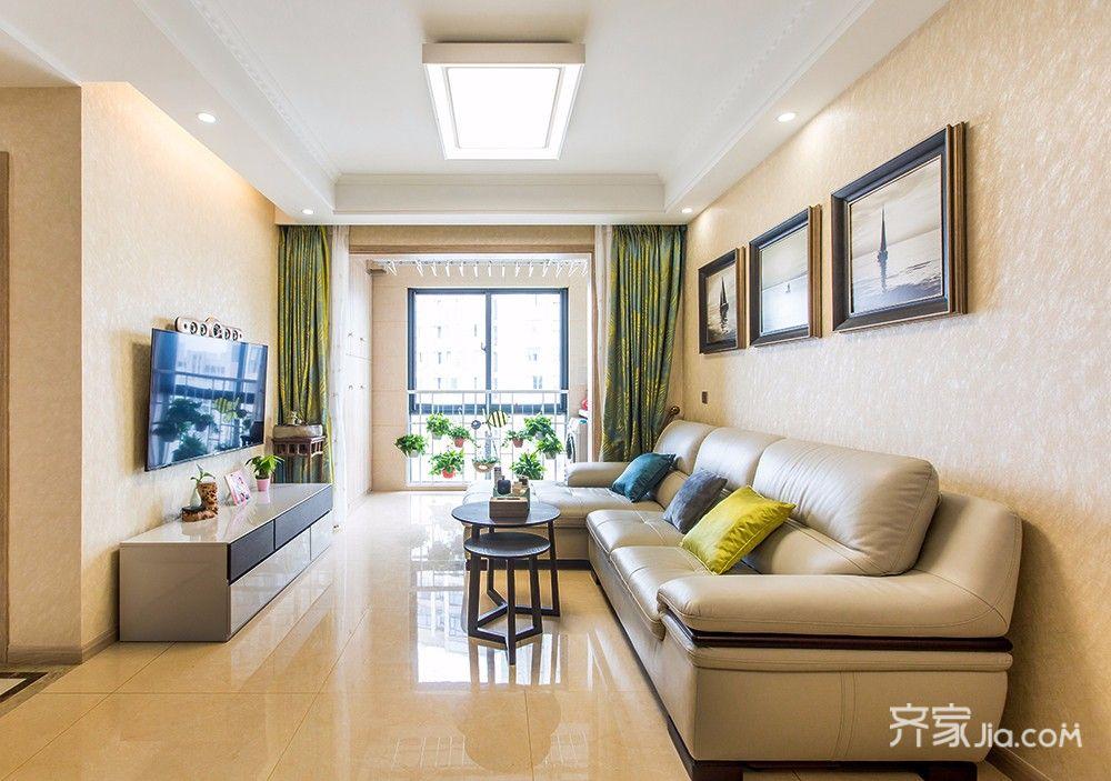 120平现代简约二居沙发背景墙装修效果图