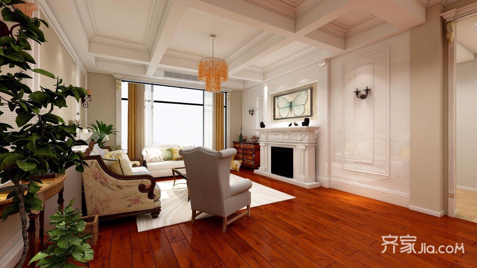 大户型美式风别墅客厅装修效果图