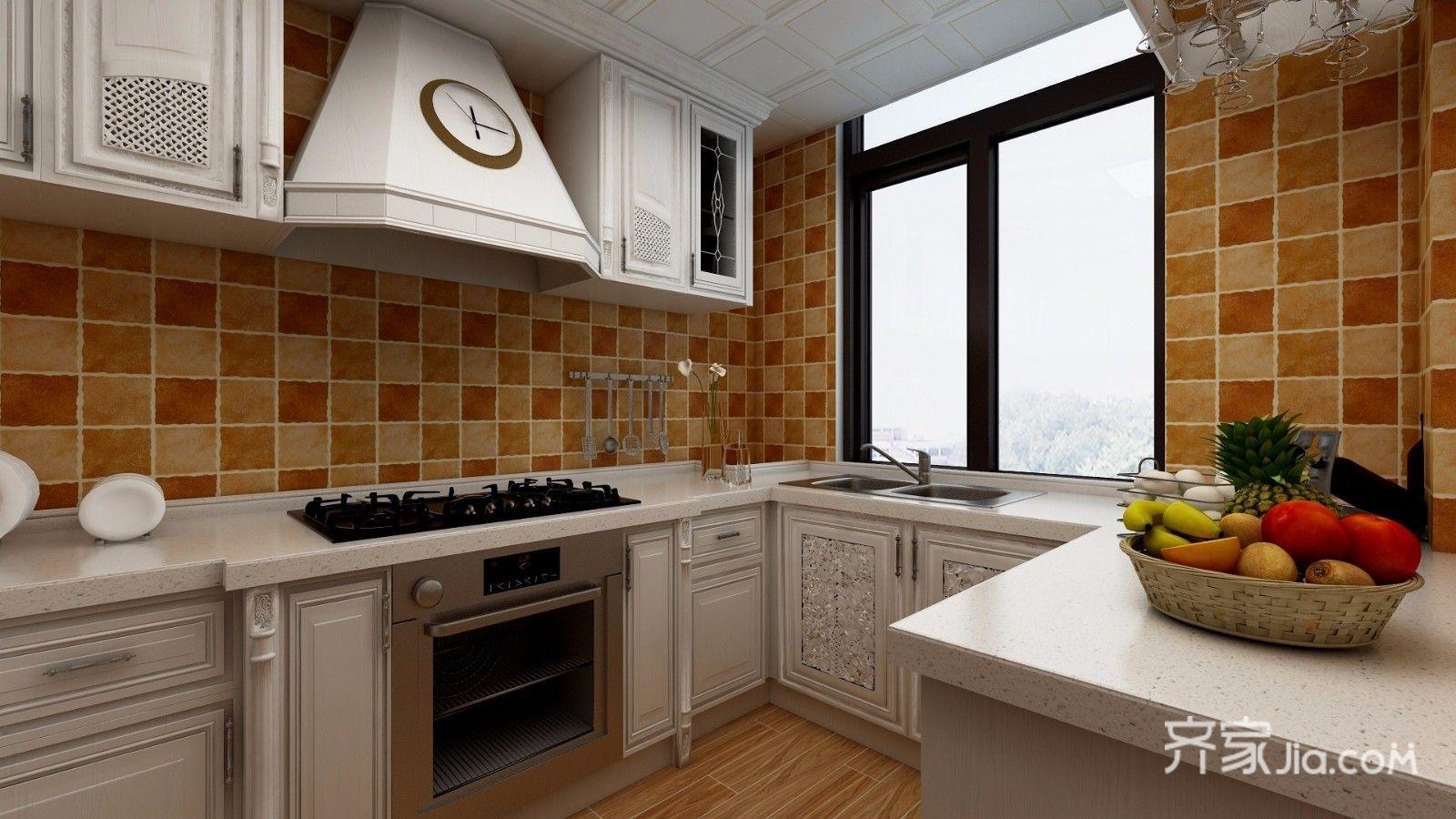 大户型美式风别墅厨房装修效果图