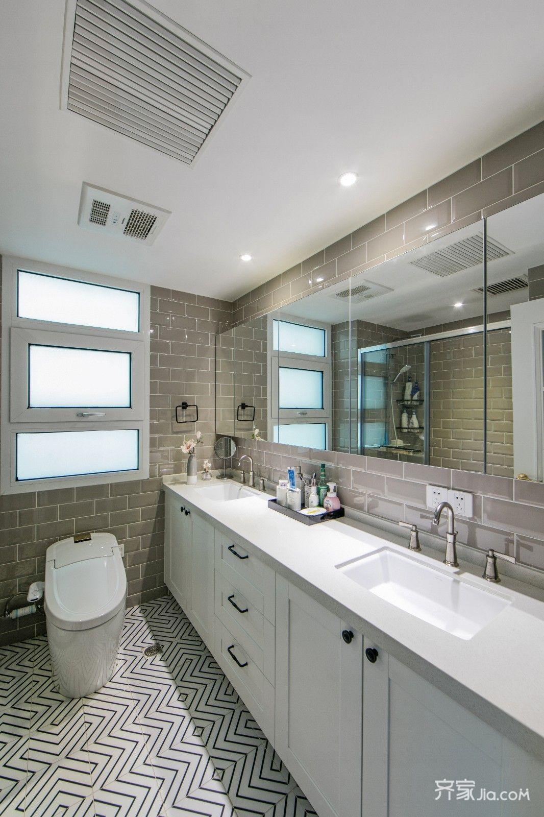 轻奢美式风三居卫生间装修效果图