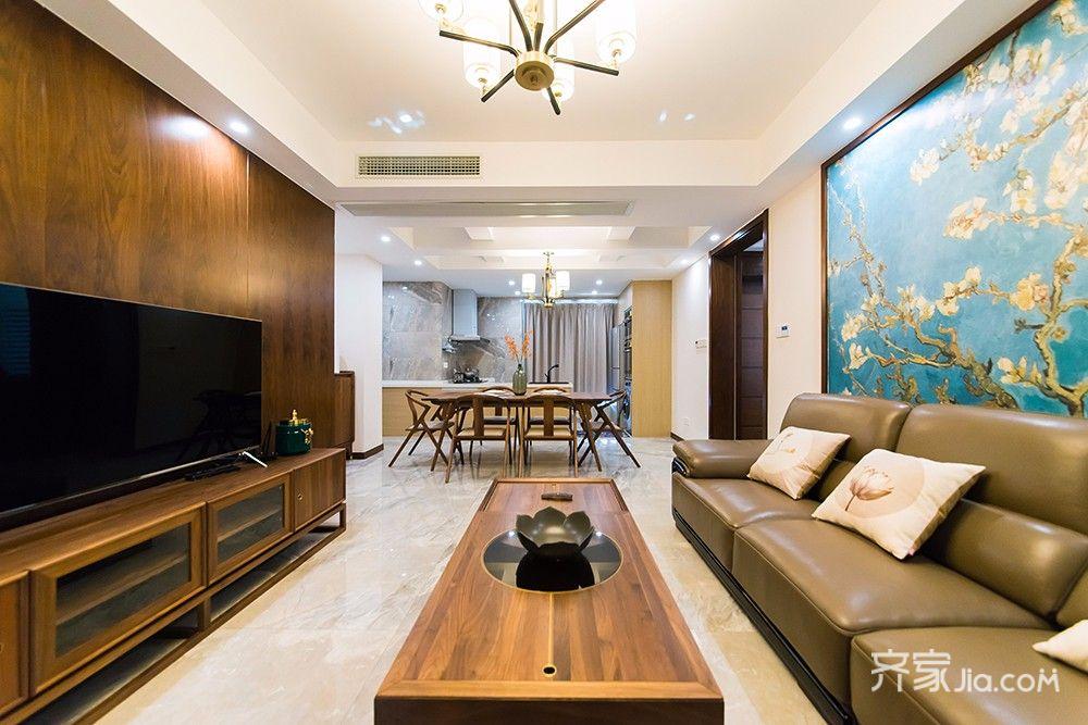 140平现代中式三居客厅装修效果图