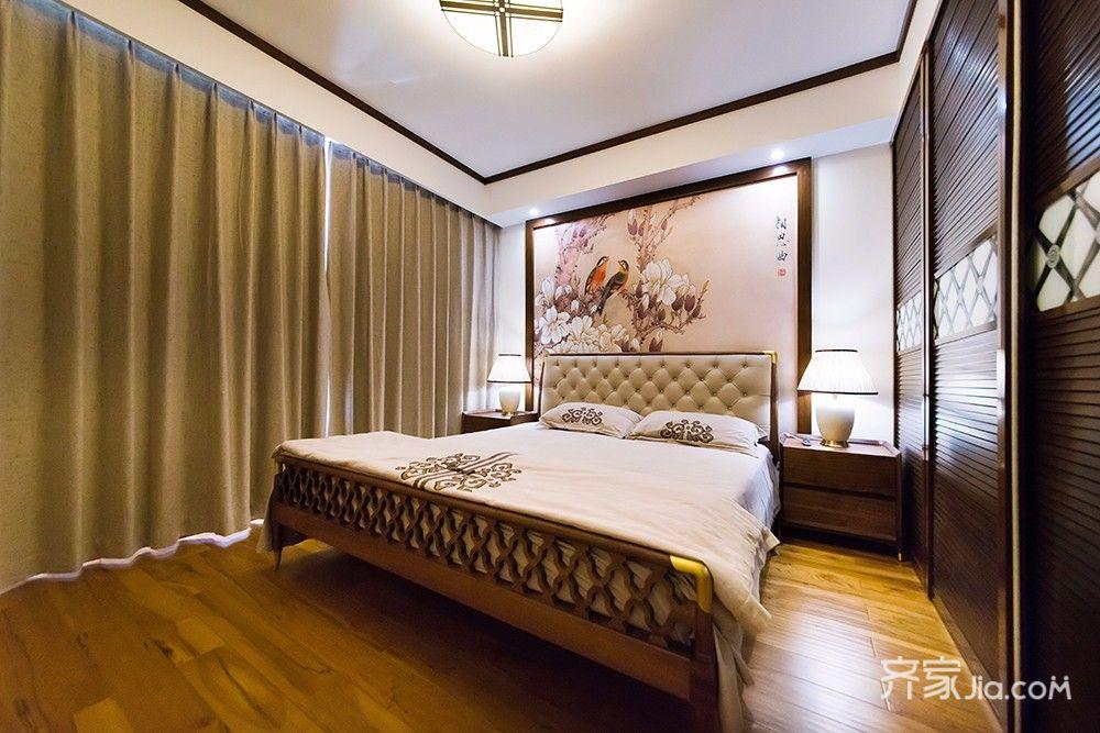 140平现代中式三居装修窗帘设计图