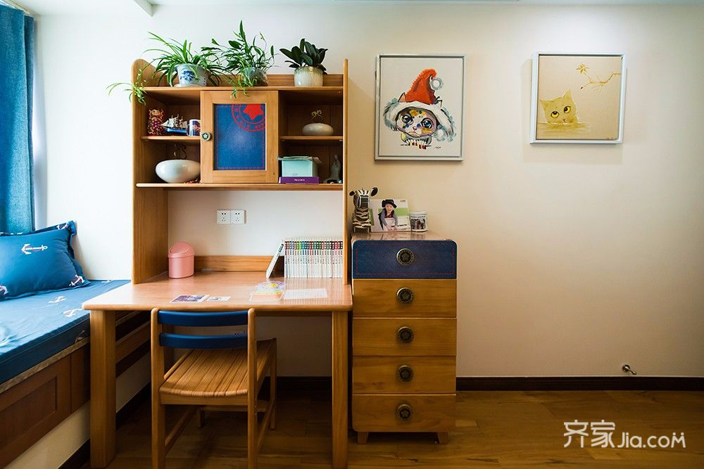 140平现代中式三居装修书桌设计图