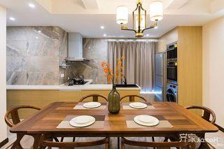 140平现代中式三居装修餐桌设计图