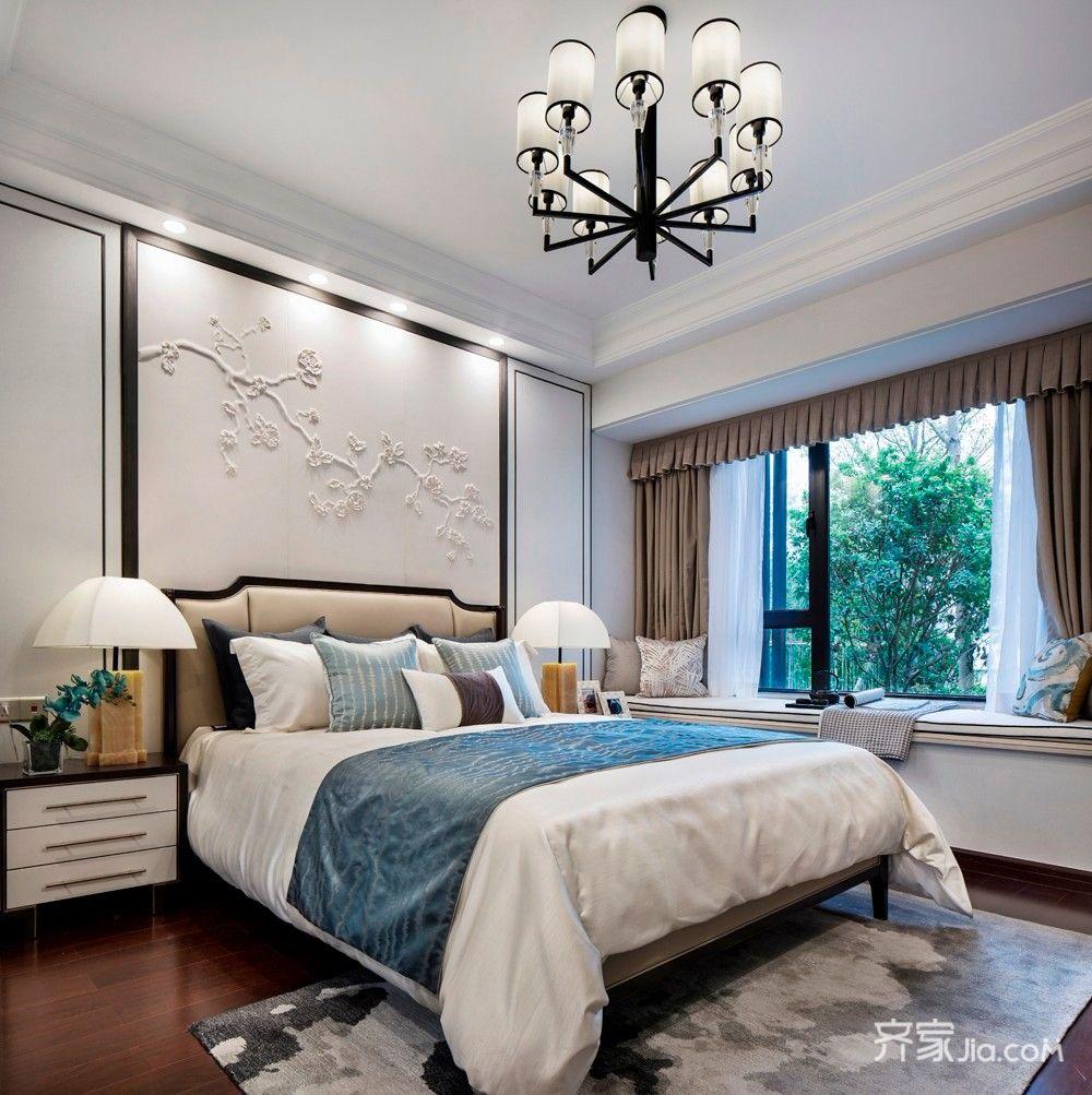 130㎡新中式三居卧室装修效果图