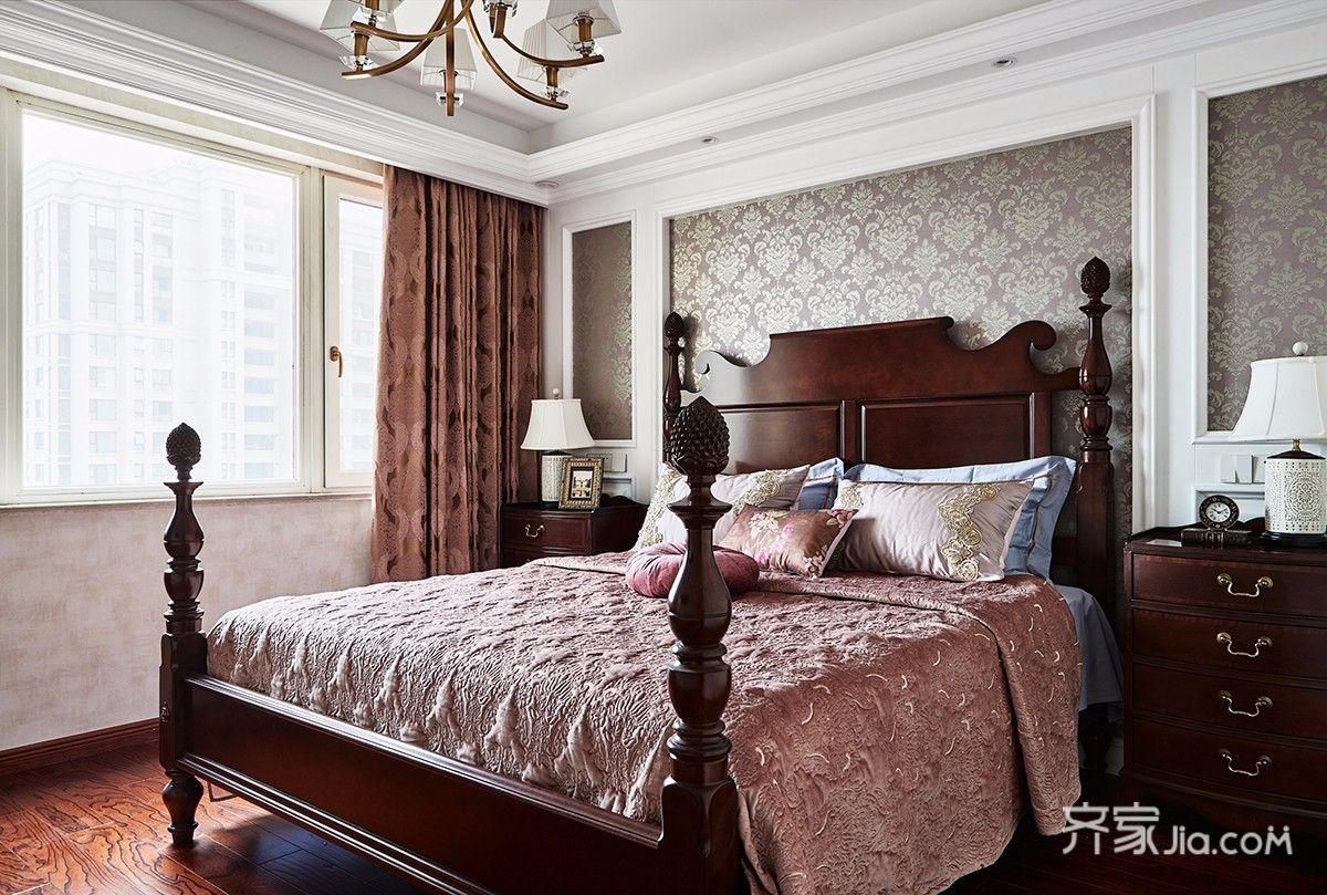 135㎡美式三居卧室装修效果图