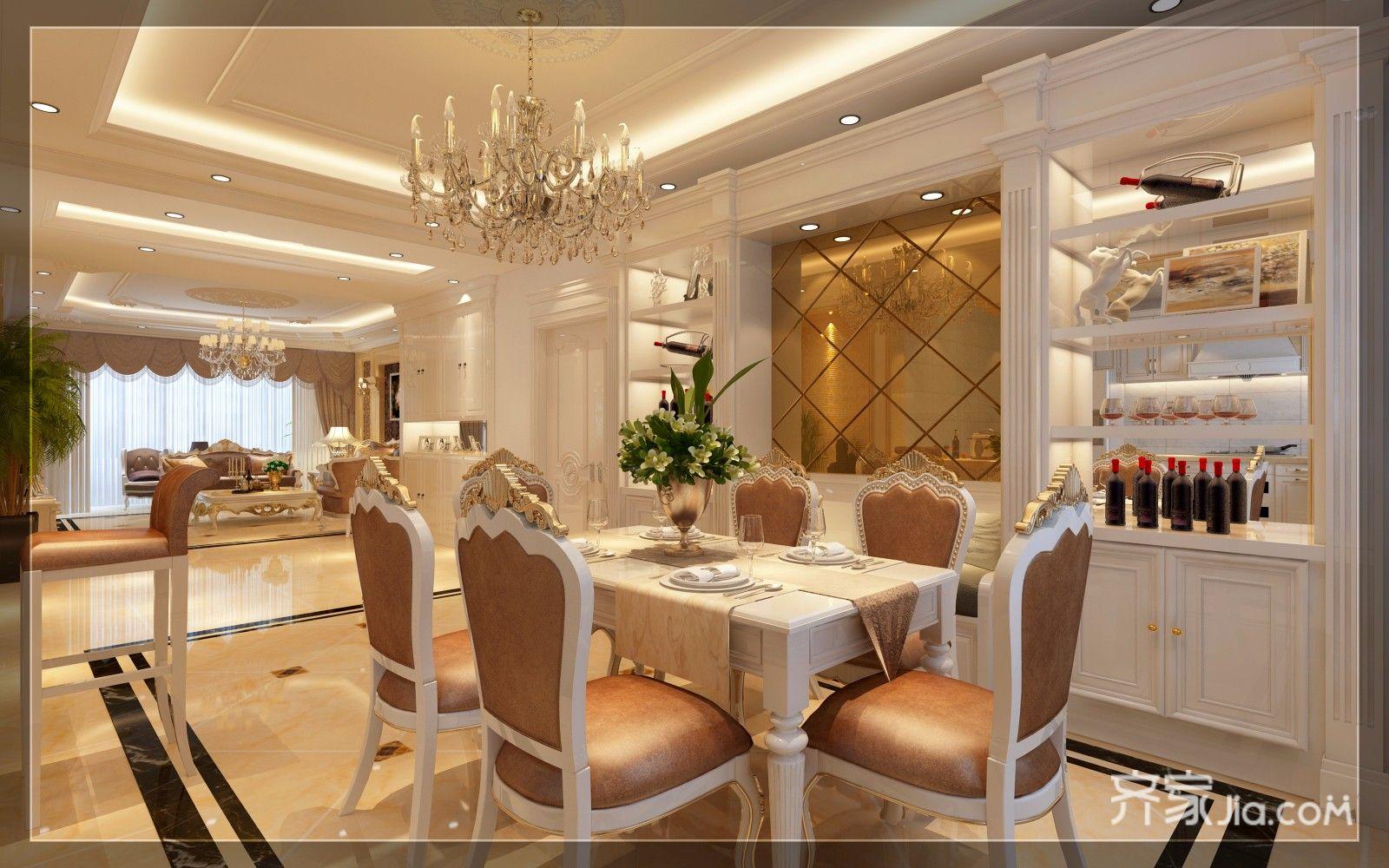 豪华欧式风格三居餐厅装修效果图
