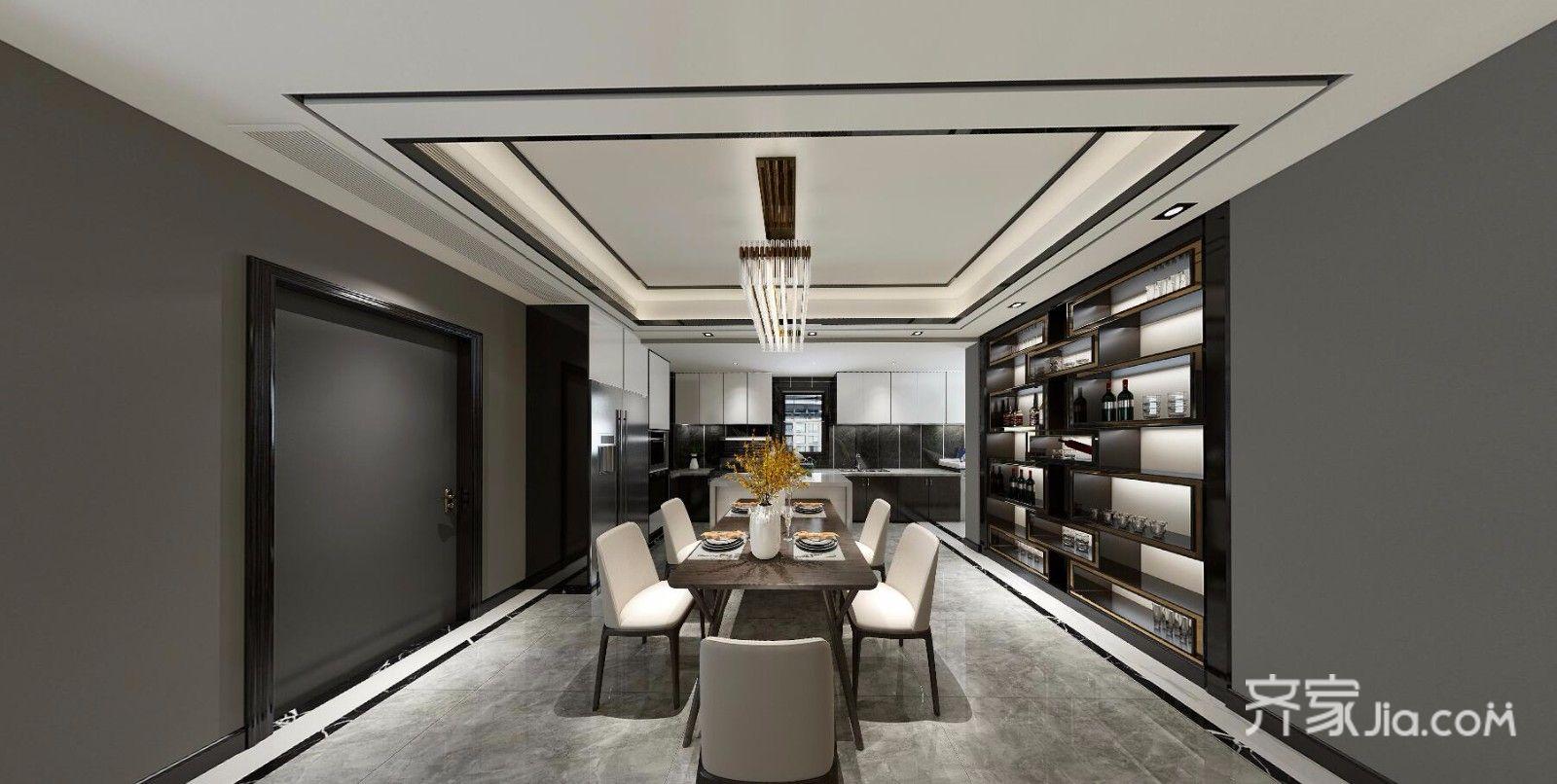 现代简约低奢三居餐厅装修效果图