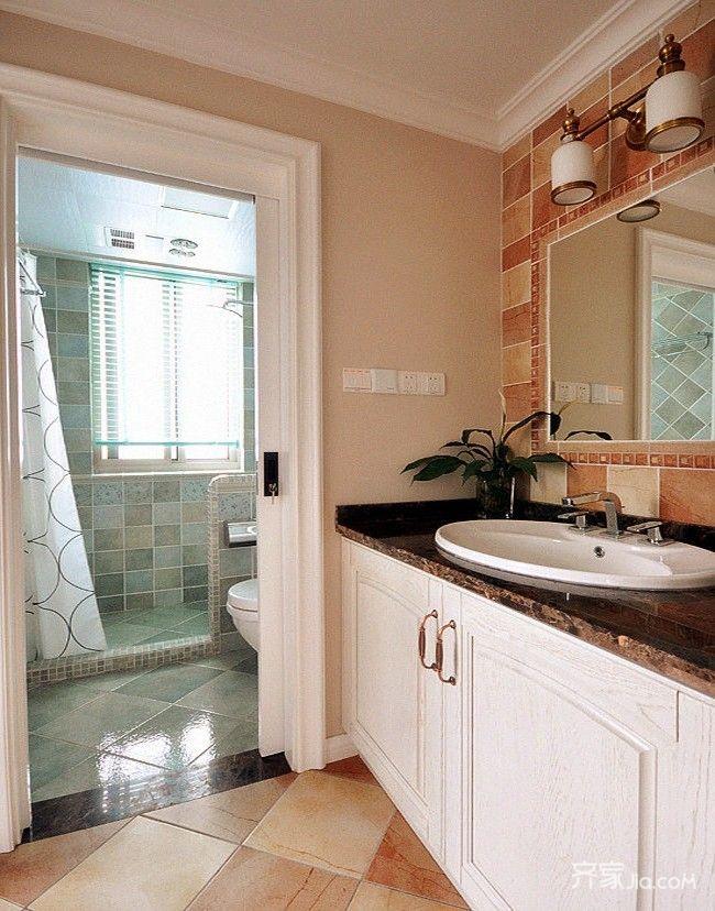 80㎡美式风格两居卫生间装修效果图