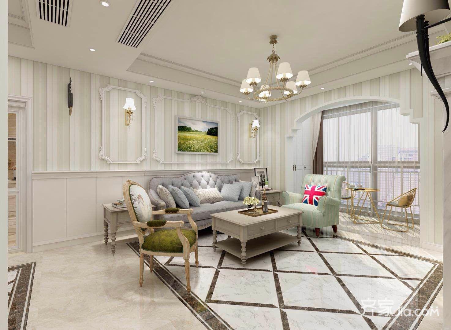 108平美式风格三居客厅装修效果图