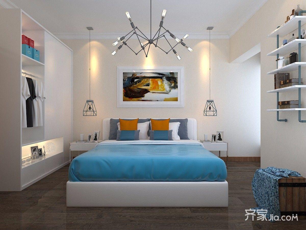 90平米简约风两居卧室装修效果图