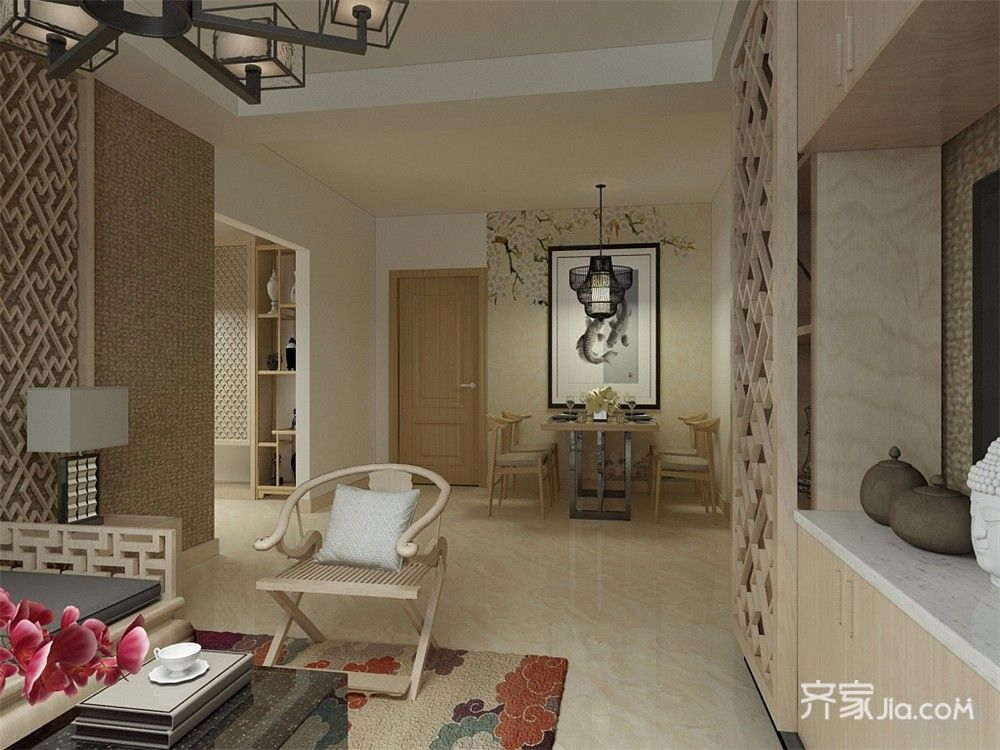新中式风格两居装修客餐厅过道
