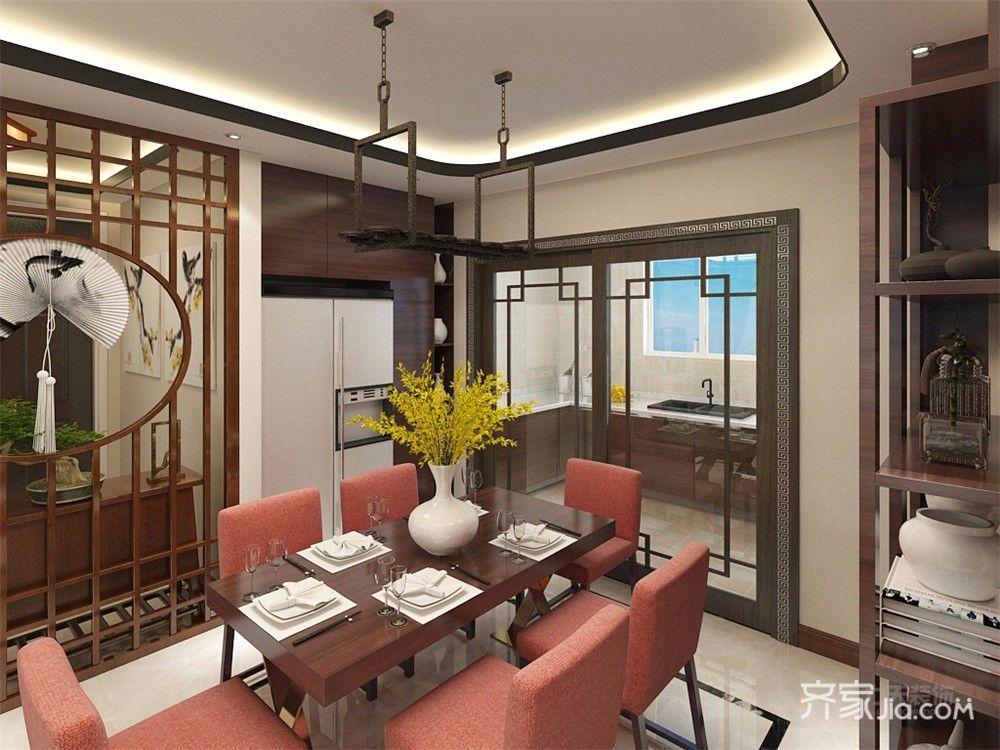 110㎡中式风格三居餐厅装修效果图