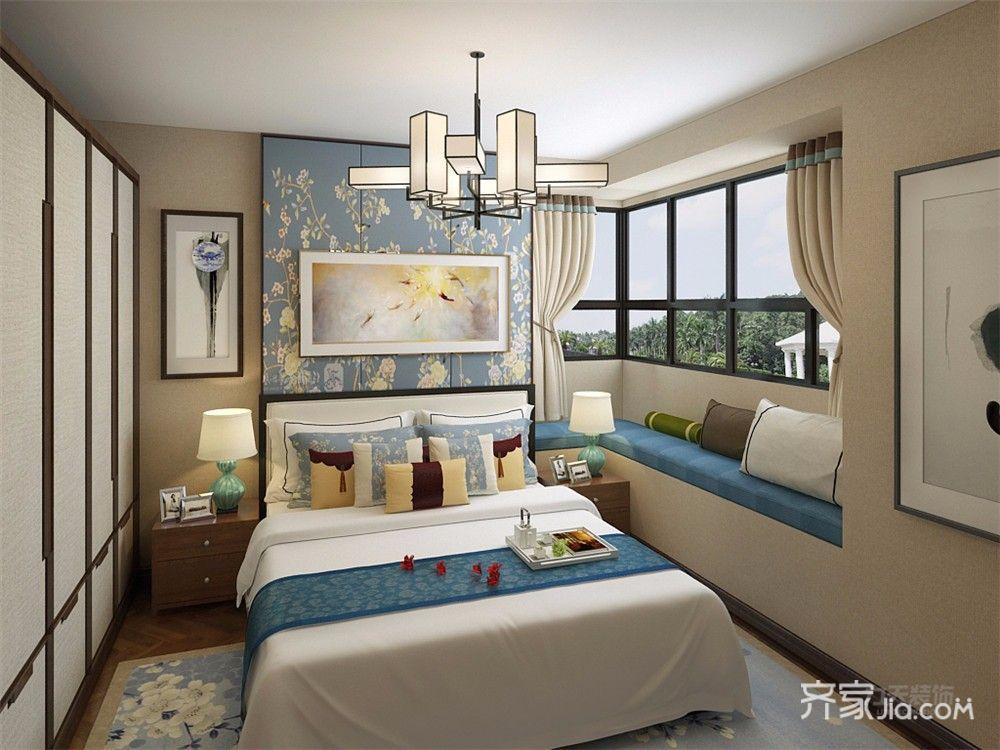 110㎡中式风格三居卧室装修效果图