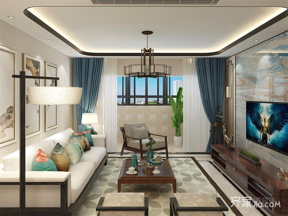 110㎡中式风格三居客厅装修效果图