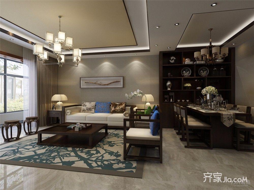 86平中式风格两居客厅装修效果图