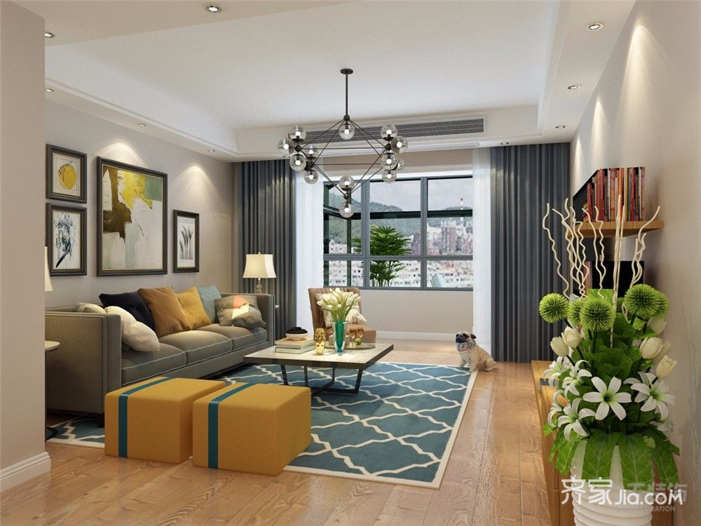 116平现代三居室客厅装修效果图