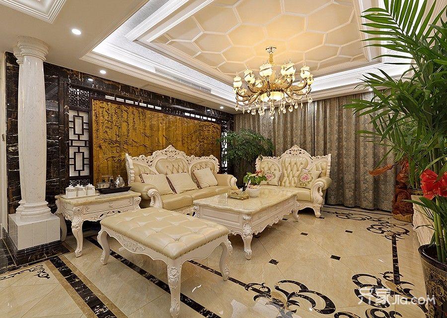 127平欧式风格三居沙发背景墙装修效果图