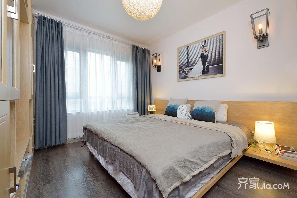 简约风格两居室装修窗帘搭配图