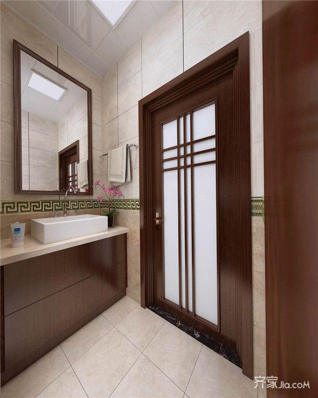 135㎡中式风格三居卫生间装修效果图