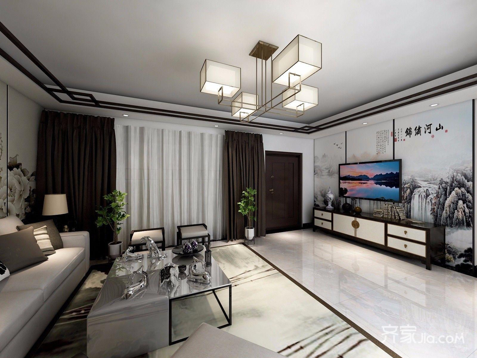 120平米中式风格电视背景墙装修效果图