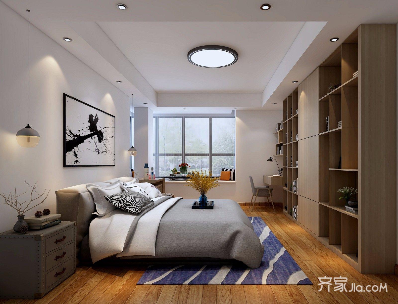 128平现代简约三居卧室装修效果图