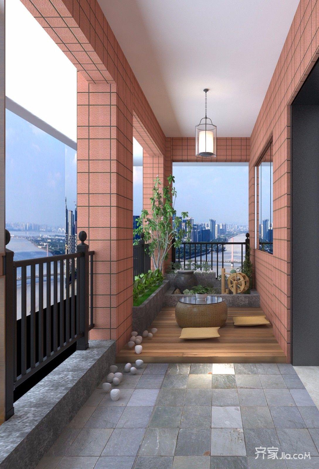 128平现代简约三居阳台装修效果图