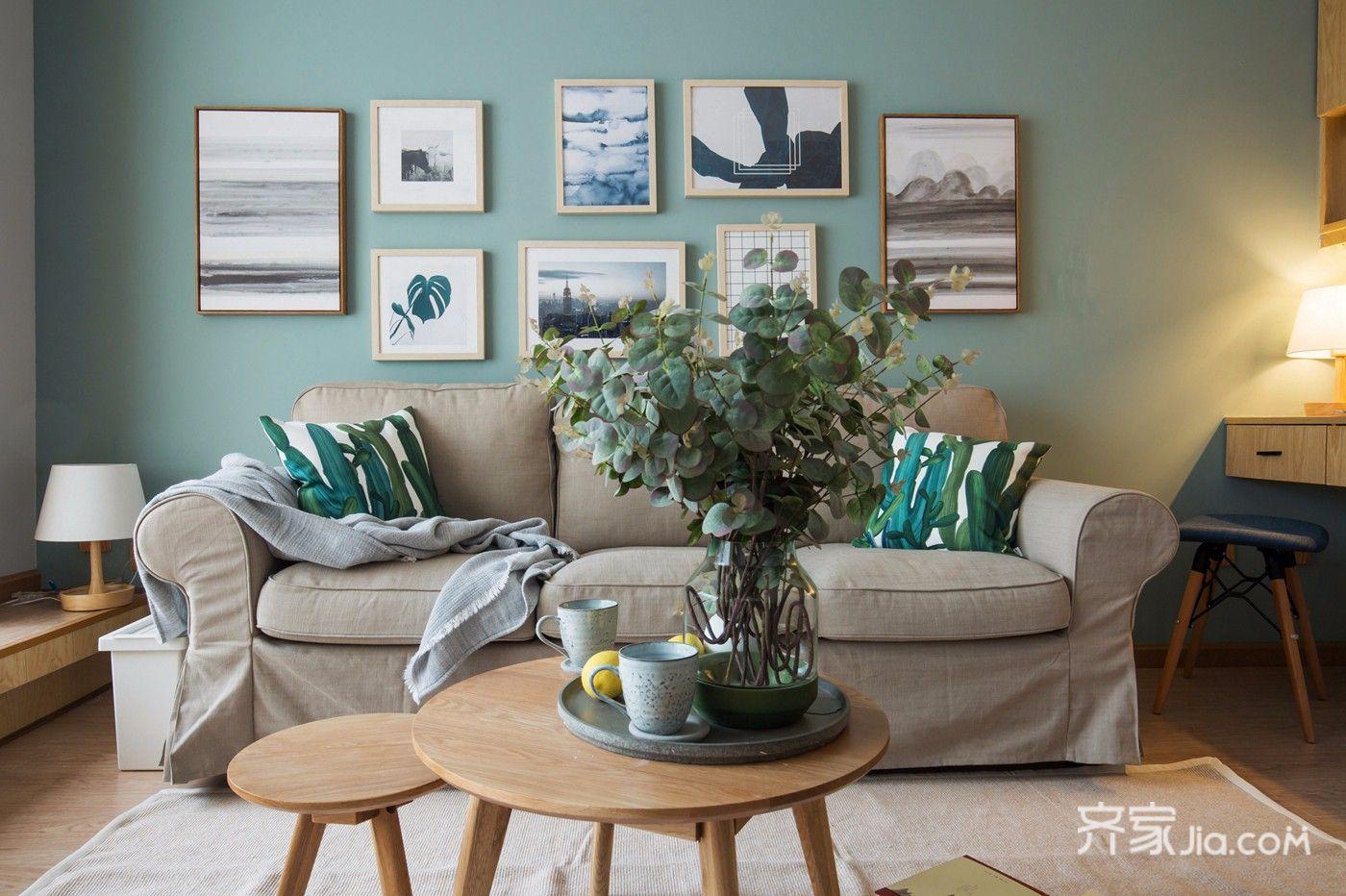 小户型北欧风一居装修沙发背景墙设计图