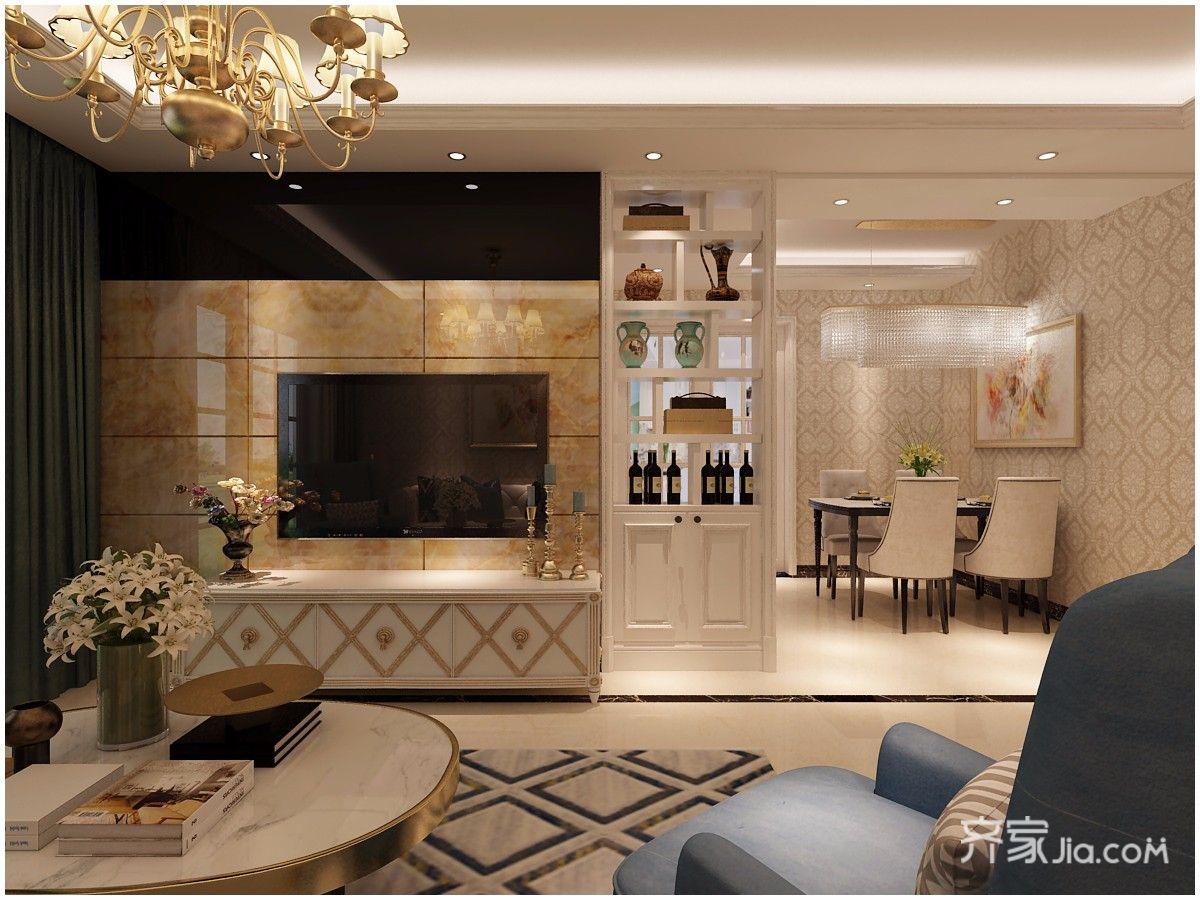 100㎡欧式风格两居电视背景墙装修效果图