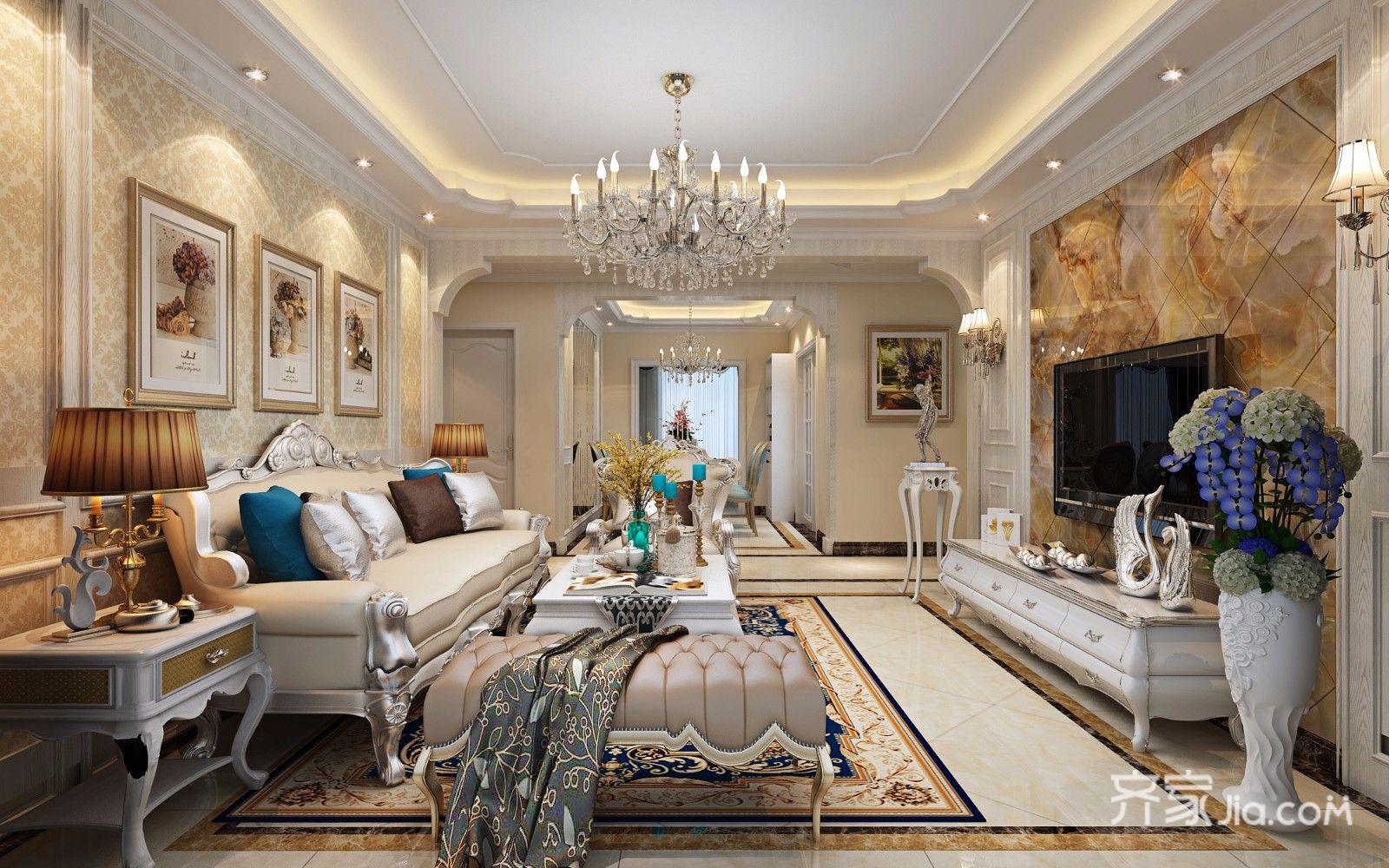 140㎡欧式风格四居客厅装修效果图