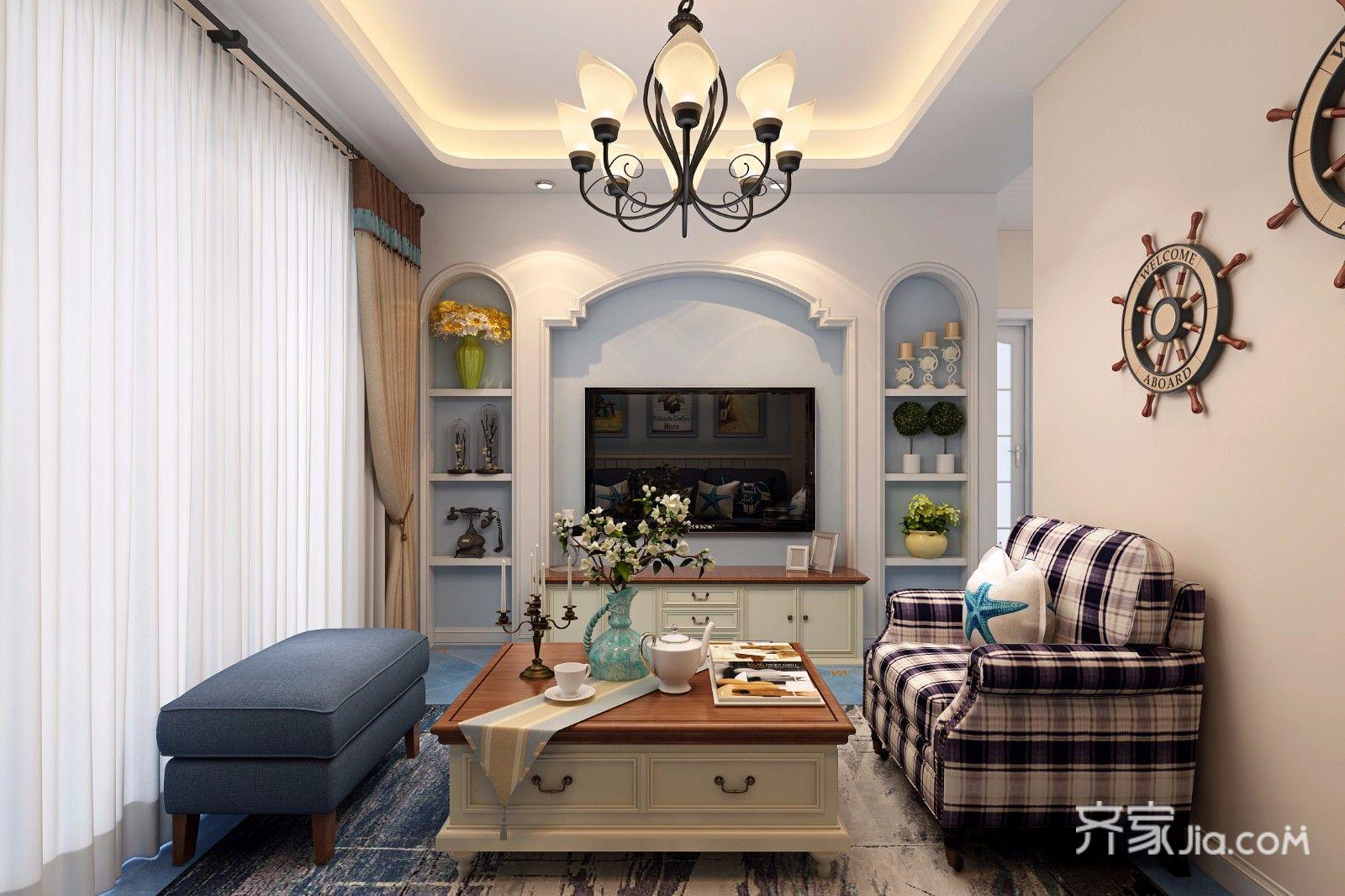 78平地中海风格二居电视背景墙装修效果图