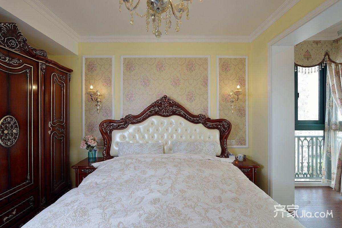 160㎡欧式风格三居床头背景墙装修效果图