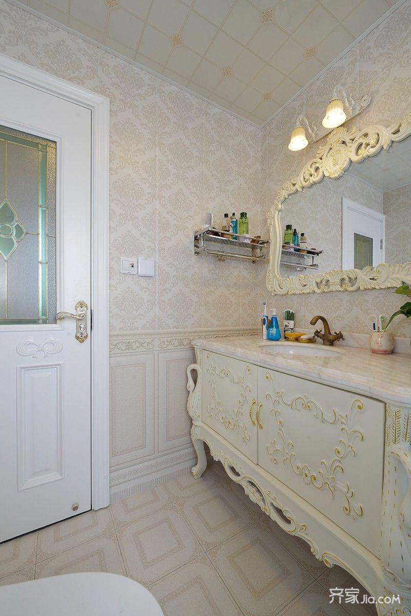 160㎡欧式风格三居装修浴室柜设计图