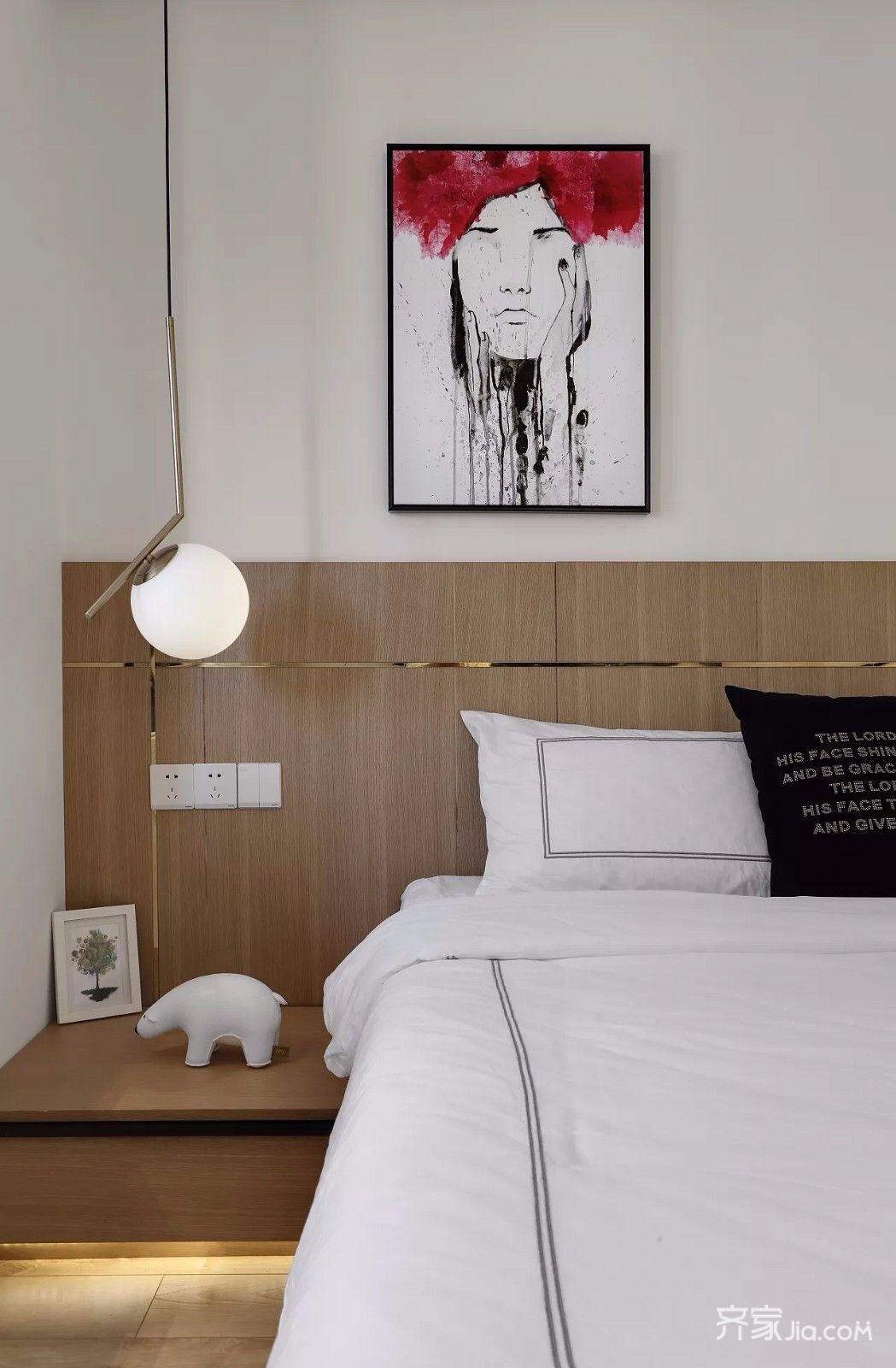 小户型简约风格二居床头背景墙装修效果图